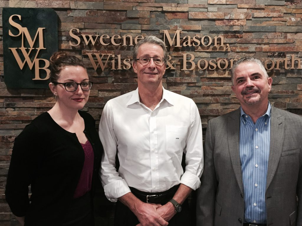 Pictured from left to right Rachael E. Binder, Kurt E. Wilson & Roger M. Mason from the SMWB Employment Law Department.